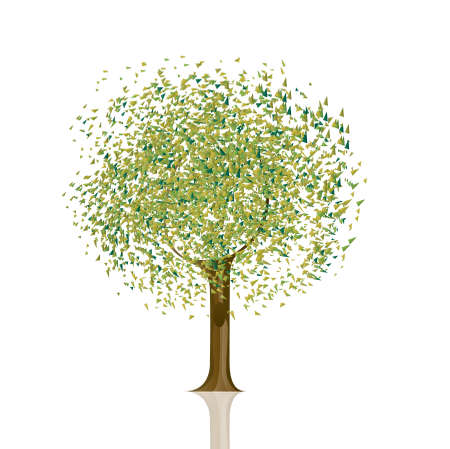 Vector illustration of tree with green leaves on white