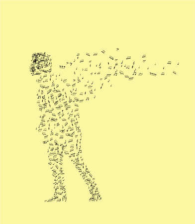man from music notes on an yellow background Vector