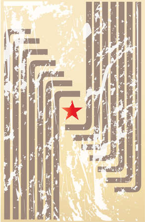 poster with red star and brown lines Vector