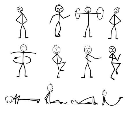 funny fitness silhouettes, cartoon, vector illustration Illustration