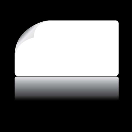 White card with curled corner and reflection Vector