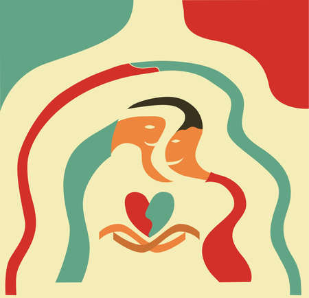 cartoon man and woman in love, vector illustration