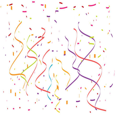 Falling confetti and streamers vector illustration