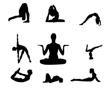 yoga poses collection vector illustration black silhouette Stock Vector - 5049128