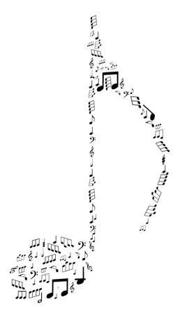 viertelnote: Hinweis-Design von Noten-Vektor-Abbildung