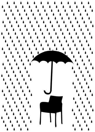 rain and umbrella over chair, vector illustration Stock Vector - 5079735