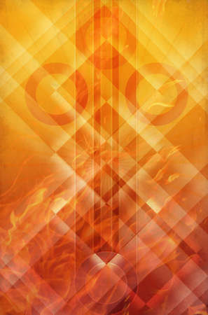 abstract background with neon lines and fire photo
