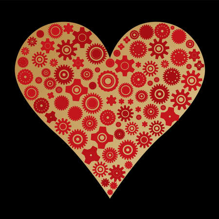 to revolve: Heart made with different cogwheels over black Illustration