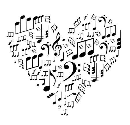 volute: Tema di San Valentino - note sul cuore, illustrazione vettoriale Vettoriali