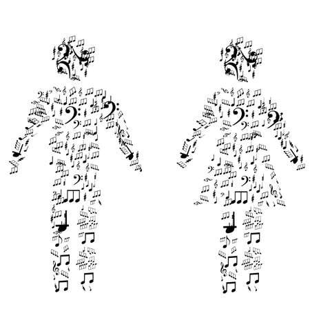 publico: Ilustraci�n vectorial de hombres y mujeres forma formada por un mont�n de notas sobre el fondo blanco