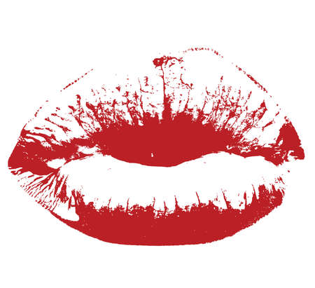baiser amoureux: Red Lips Kiss Vector illustration