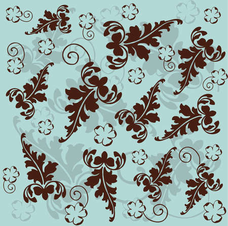 Retro floral background. Vector illustration in blue and brown color Vector