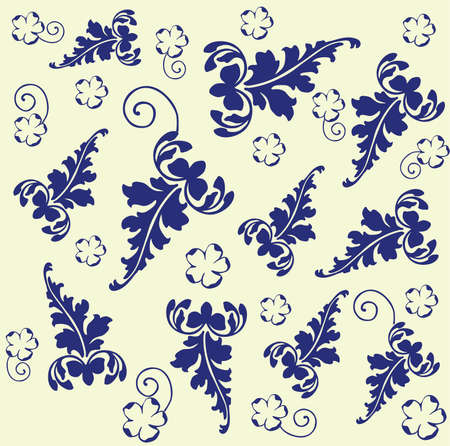 Retro floral background. Vector illustration in blue and light yellow color Vector