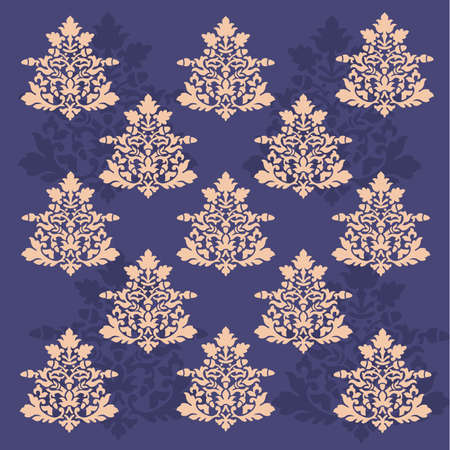 Antique scroll wallpaper - seamless and vector blue background Vector