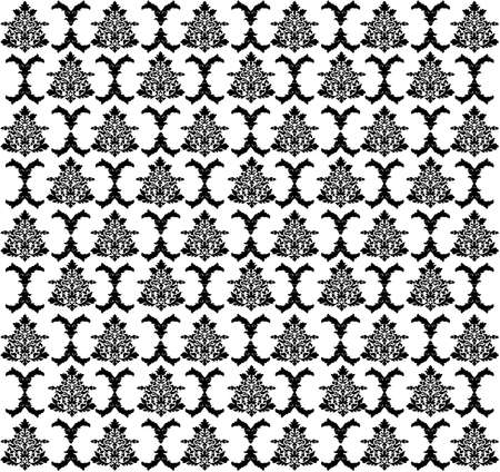 Vector. Seamless rococo pattern in black and white color Vector