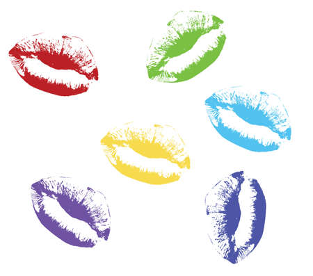colored kiss lips Vector illustration Illustration