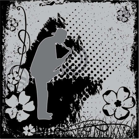 vector illustration with saxophonist in grunge style Vector