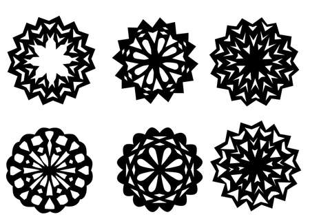 Six silhouettes of snowflakes design element. Vector illustration Vector