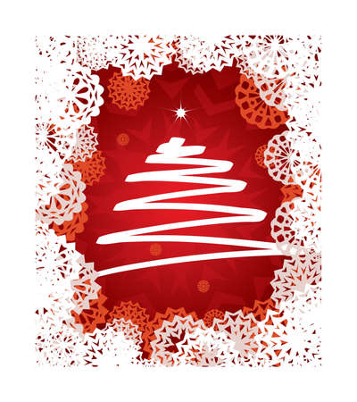 Image of Christmas illustration with abstract tree on red background Stock Vector - 5206599