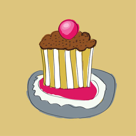 cute wedding cake with cherry vector illustration Vector