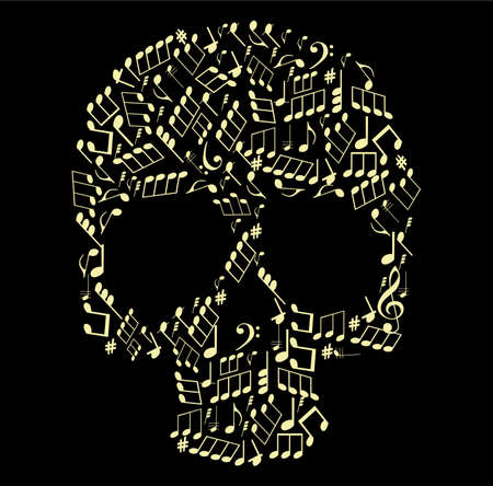 karaoke: music skull made from notes vector illustration Illustration