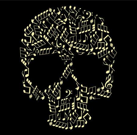 rock music: music skull made from notes vector illustration Illustration