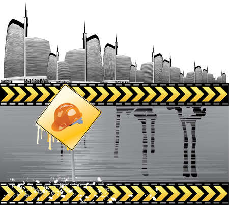 Under construction vector illustration with city details Stock Vector - 5275407