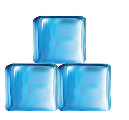 cubetti di ghiaccio: Illustrazione dei cubi di vetro moderno nel vettore di colore blu