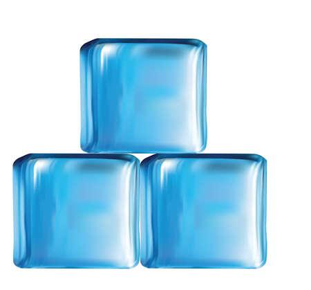 cubos de hielo: Ilustraci�n de cubos de vidrio moderna en vector de color azul