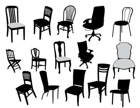 antique furniture: set of antique furniture vector illustration, chairs