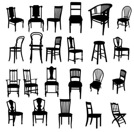 set of antique furniture vector illustration