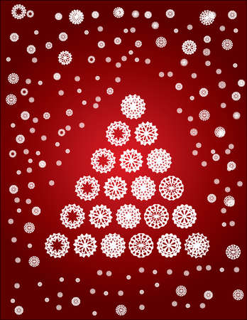 Christmas card with tree made from snowflakes Vector