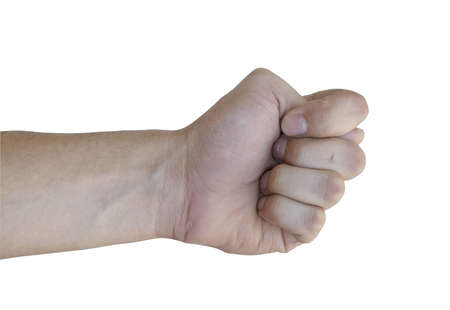 The men hand show the fig on white background Stock Photo - 5354035
