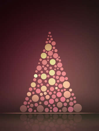rounds: Christmas tree New Years card made from rounds