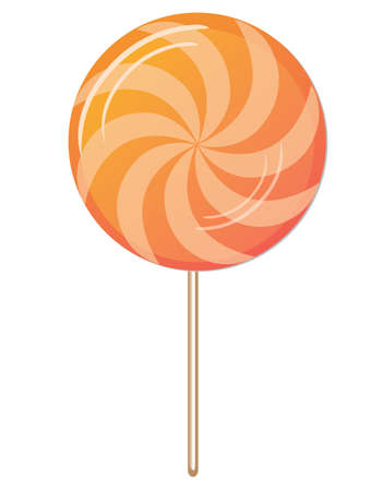 orange candy twirl vector illustration on white