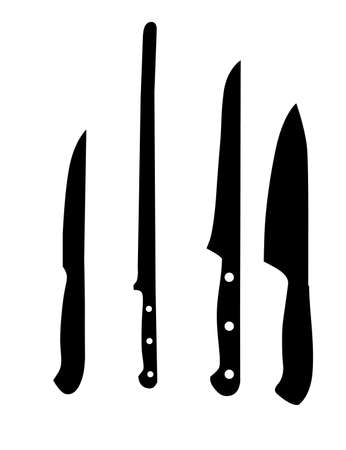 crusades: knifes silhouettes - vector illustration black and white color