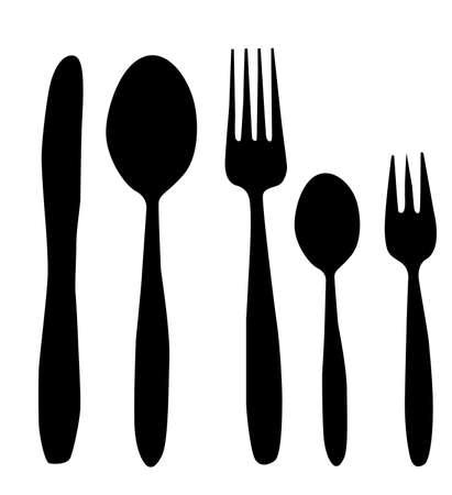 cucchiaio, coltello e forchetta vettoriale illustrazione in bianco e nero