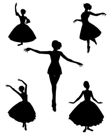 dance silhouettes vector illustration black and white color Stock Vector - 5392965