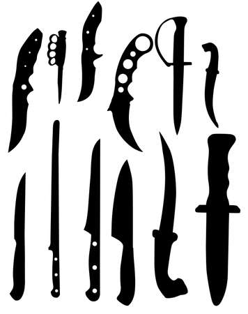 knifes: knifes silhouettes - vector illustration black and white color