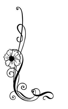 hoekversiering: vector afbeelding van bloem decoratie, hoek decoratie