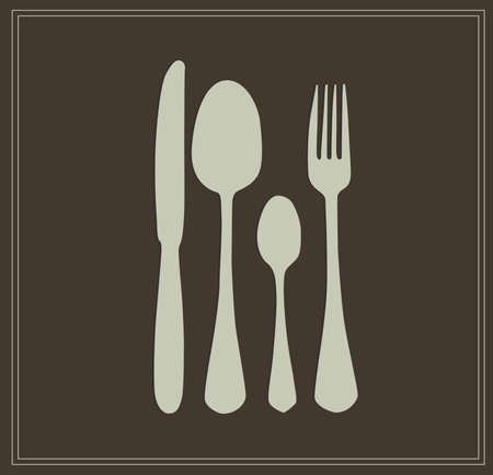 small spoon, knife and fork vector illustration menu card Vector