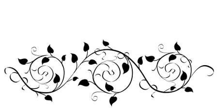 elementi di disegno floreale - colore nero illustrazione vettoriale