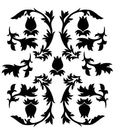 vector ornament In leaves style black color Vector