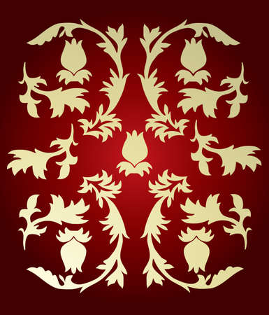 golden color: vector ornament In leaves style golden color on red Illustration