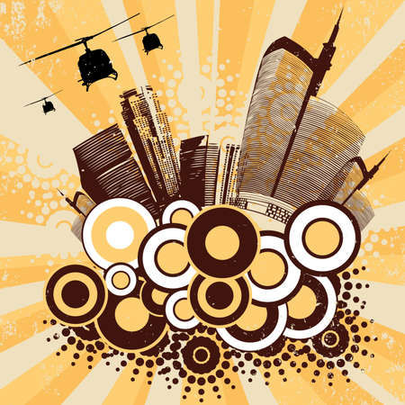 vector urban art with house round and helicopters Vector