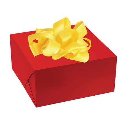 red gift box: vector illustration of red gift box golden ribbon