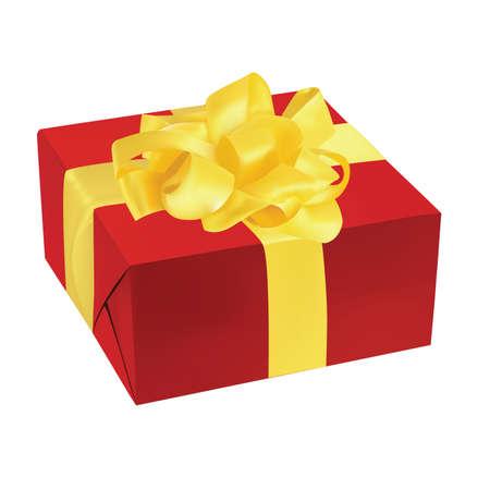 vector illustration of red gift box golden ribbon Stock Vector - 5533551