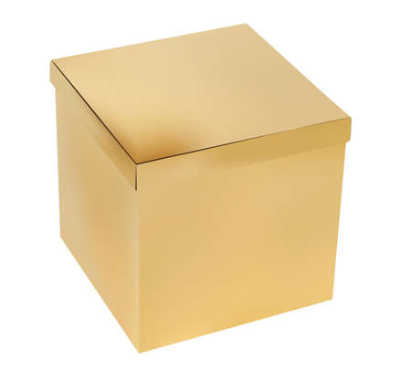 golden color: Cardboard gift box golden color isolated illustration