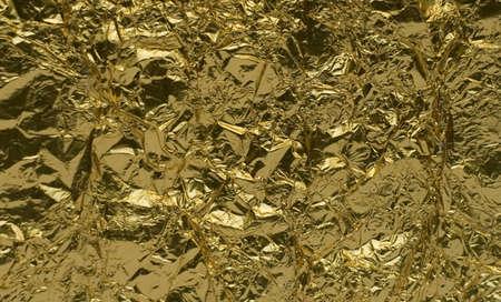 resplendence: texture of golden foil close up view