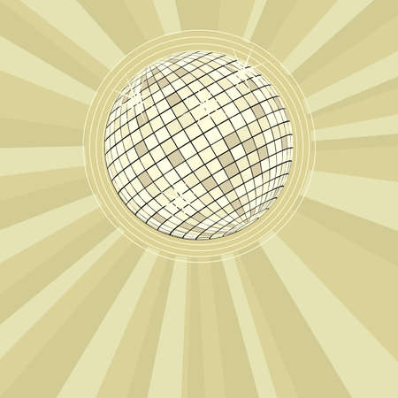 retro party background with golden disco ball and stars illustration illustration